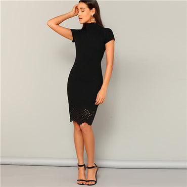 Black Laser Cut Scallop High Neck Summer Pencil Dress