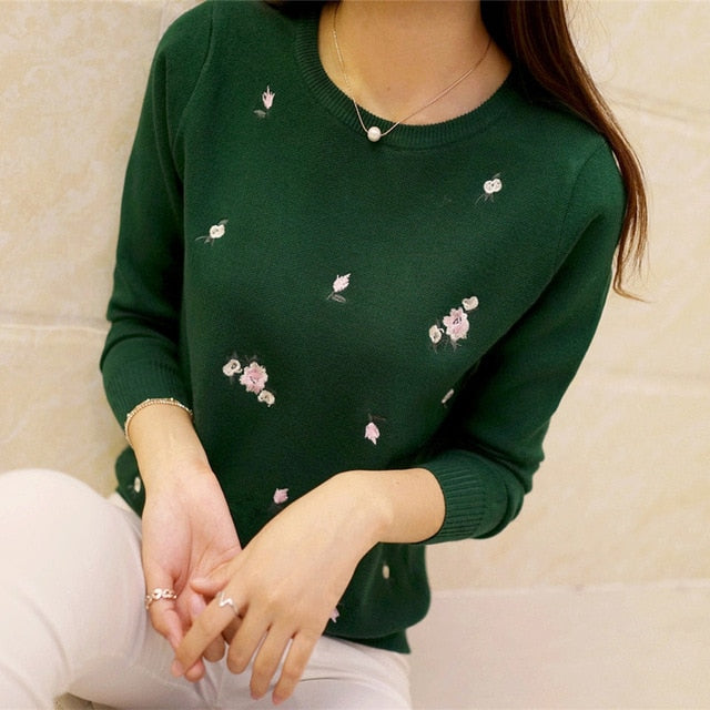Autumn Sweater Women Embroidery Knitted Tricot Jersey Jumper