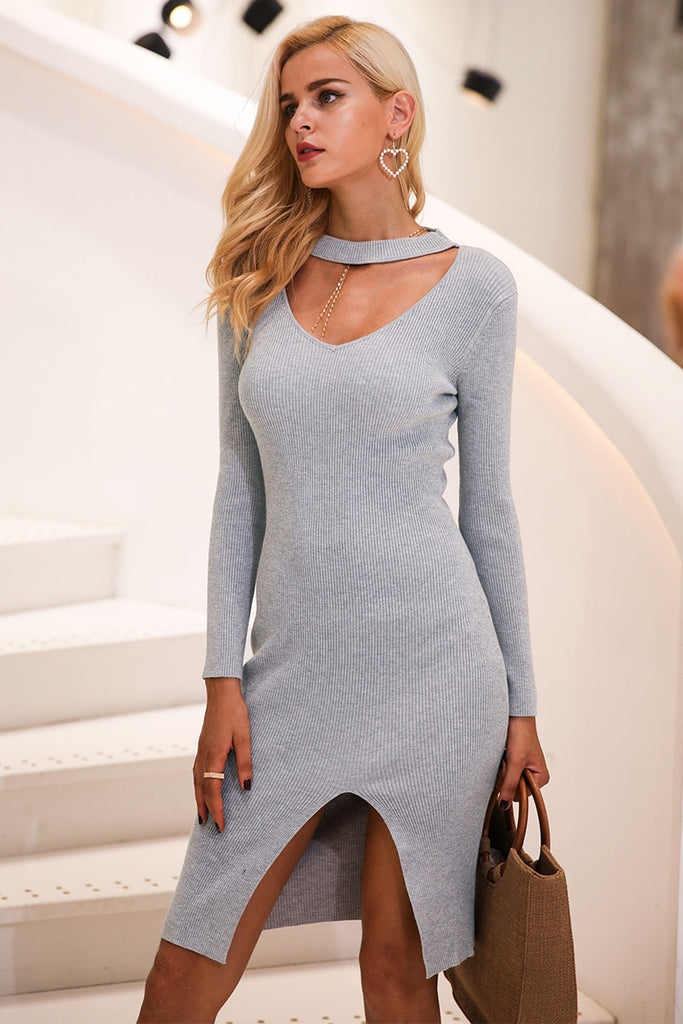 Halter V neck sexy knitting sweater dress