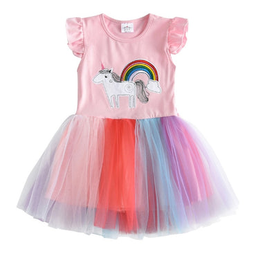 Cute Princess Unicorn Heart Design Sequins Patchwork Cotton Girl Dress