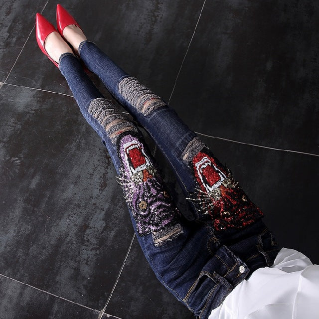 Women Long Trousers Ankle-length Female Pencil Jeans