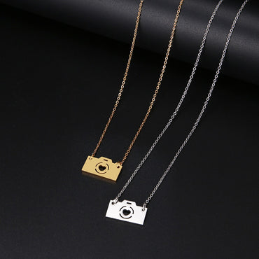 Women Lover's Gold And Silver Color Camera Pendant Maxi Choker Necklaces