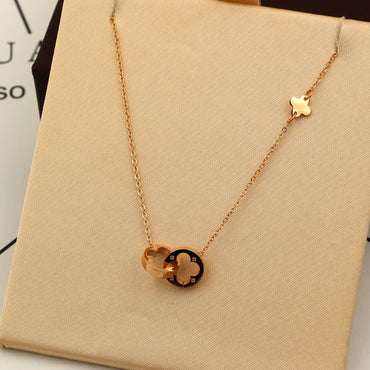 Women Two Circle Double Buckle Necklace Hollow Clover Pendant