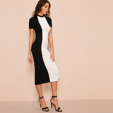 Black and White Colorblock Bodycon Pencil Midi Dress