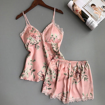 Womens Sexy Satin Lace Sleepwear Lingerie 2pcs Set