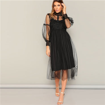 Black High Neck Flower Applique Mesh Overlay Shift Plain Long Dress