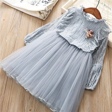 0-6 years girl new fashion solid cute flower full sleeve princess dress