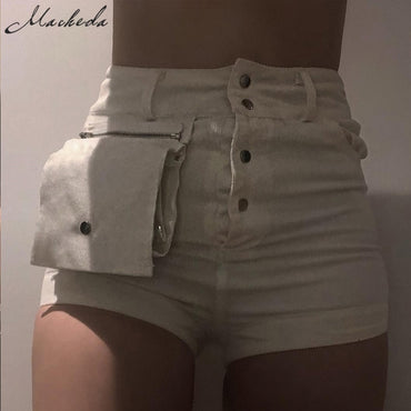 Fashion White Denim Shorts With Waist Pack Women Summer