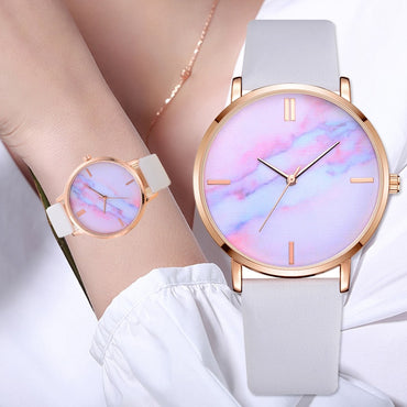 Women Watches Luxury Leather Strip Marble Dial Dress Wristwatch