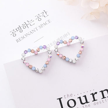 New Korean Hollow Multicolor Rhinestone Star Love Heart Stud Earrings for Women