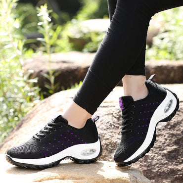 Best Seller Women Air Cushion Platform Sneakers Breathable Mesh Casual Shoes