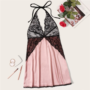 Women Sexy Solid Contrast Lace Bodice Halter Deep V Neck Satin Night Dress