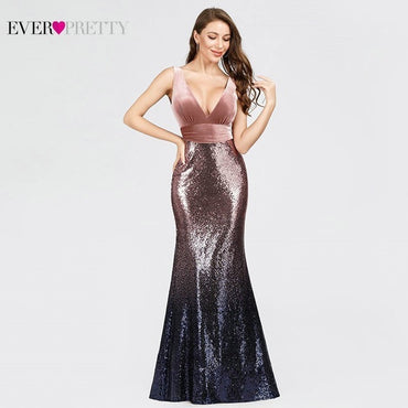 Robe De Soiree Sexy V-neck Sleeveless Mermaid Burgundy Long Evening Dress
