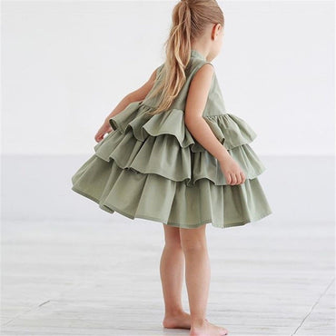 Fashion loose solid color ruffles sleeveless princess layer dress