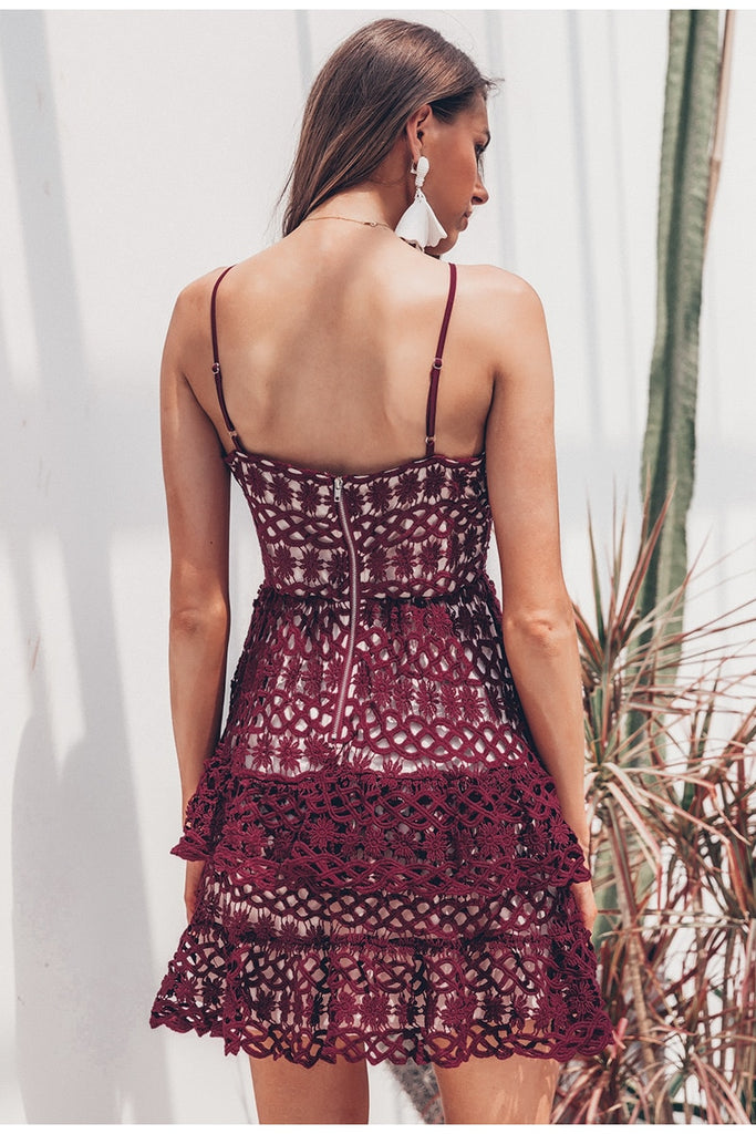 Sexy v-neck embroidery spaghetti strap mini dress