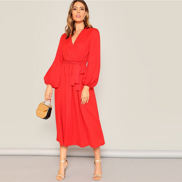 Neon Red Lantern Sleeve Surplice Neck Wrap Belted Maxi Dress