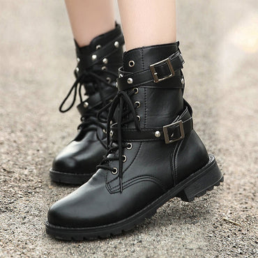 Women Boots New Buckle British Style Ankle Boots Gothic Punk Low Heel