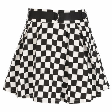 Pleated Checkerboard Skirts Womens Harajuku High Waisted