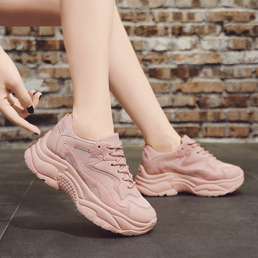 Chunky Sneakers  Fashion  Platform Shoes Lace Up Pink Vulcanize Shoes