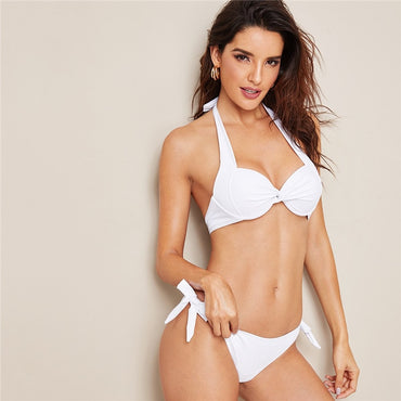 Solid Thong Halter Push Up Bikini With Tie Side Bottom