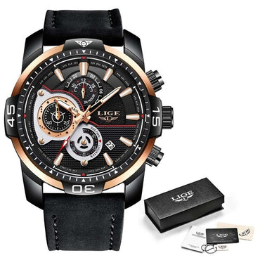 Mens Watches Top Brand Luxury Leather Quartz Waterproof Watch