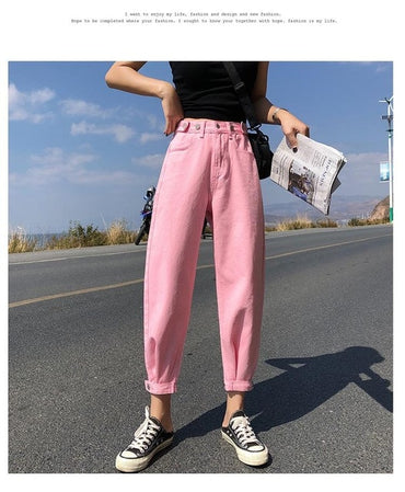 Casual Jeans Woman High Waist Loose Denim Harem Pants Mujer Plus Size