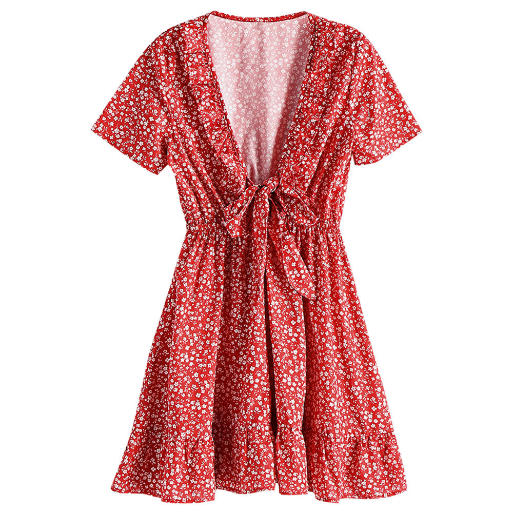 Hot Sale Floral Knotted Frilled Mini Dress V-Neck Short Sleeves Summer Women Dress