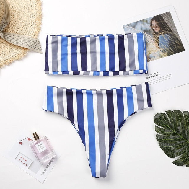 Striped Bikinis Women Sexy Solid Bandeau