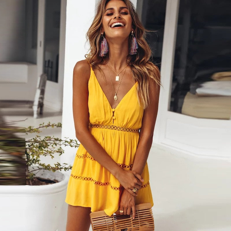Yellow Solid Dress Spaghetti Strap V Neck Mini Dress