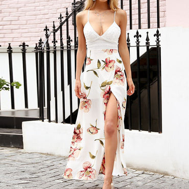 Hot Selling Fashion Bohemian Lace Backless Maxi Dress