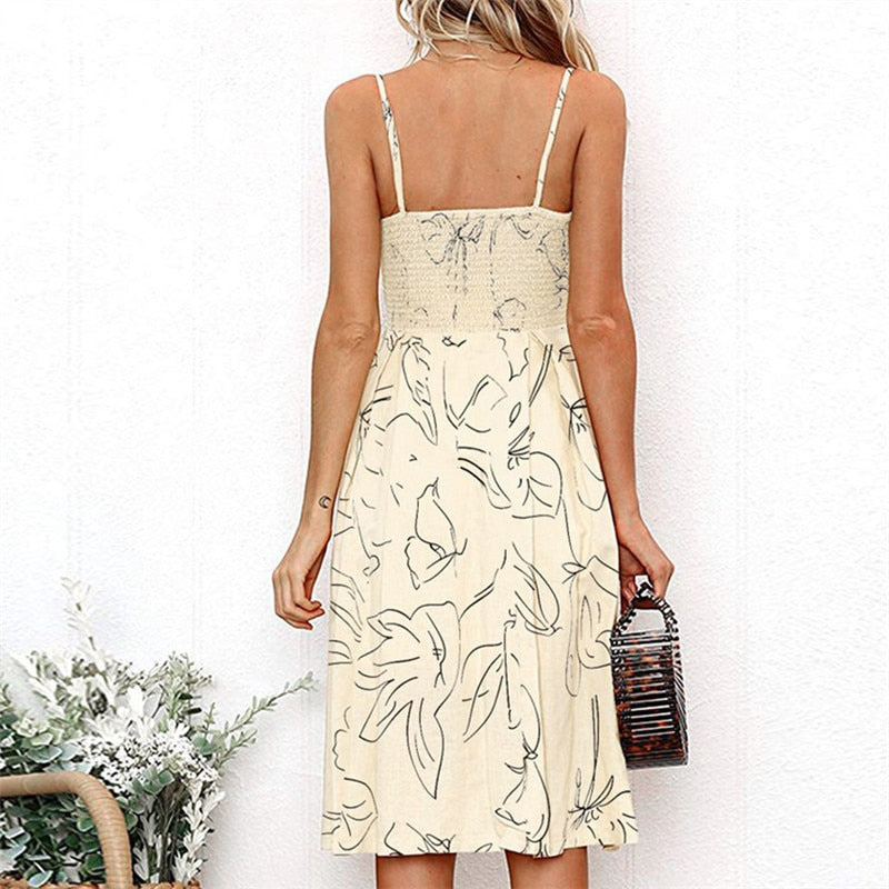 Boho Floral Printed Sexy V Neck Sleeveless Dresses