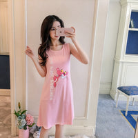 Girl Tops summer New Women Sling Nightgown printing Sexy Sleepwear