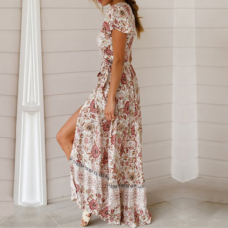 Sexy Floral Print Beach Long Maxi Dress