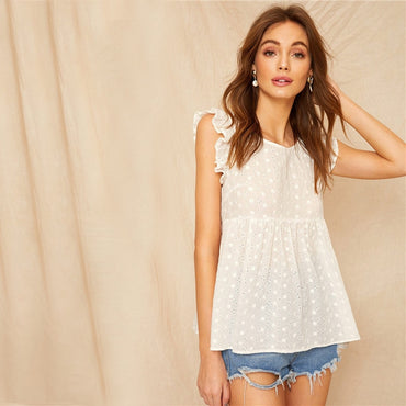 Ruffle Trim Tie Back Smock Schiffy White Blouse
