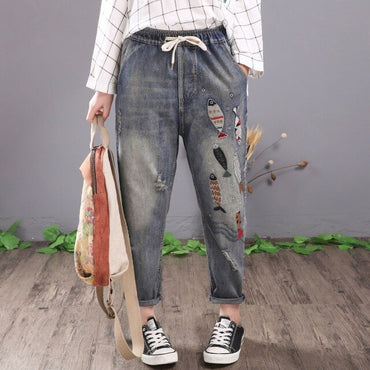 Women Vintage Fish Embroidered Jeans Ripped Cotton Denim Harem Pants