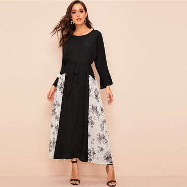 Floral Color-Block Flounce Sleeve Belted Maxi Dress