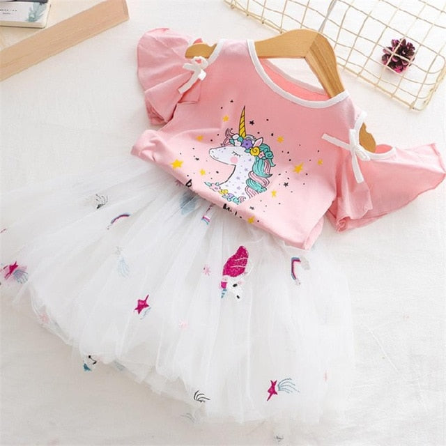 Girls Unicorn Cute Princess Dress