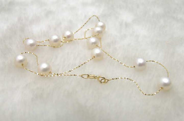 "Geniue gold Chain Floating AAA perfect round 8-9mm White Natural Freshwater pearl 18"" necklace"