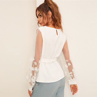 Embroidery Mesh Lantern Sleeve Belted White Blouse