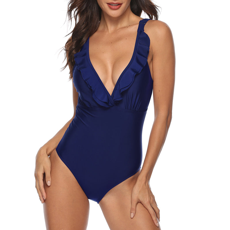 New Fashion One Piece Sexy Deep V Swimwear