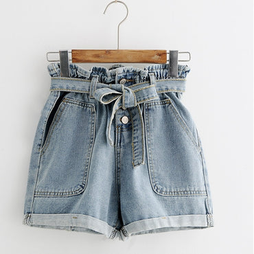 New Summer Fashion Elastic High Waist Denim Shorts