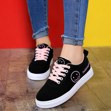 Women Canvas Shoes  Classic Lace Up Smiley Face Fashion Sneakers