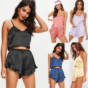 Women Sexy Lingerie Off Shoulder Straps Tops+Short Pants Satin Babydoll Sleepwear