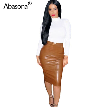 Women Pu Leather Skirt Streetwear Casual Bodycon Pencil Skirt