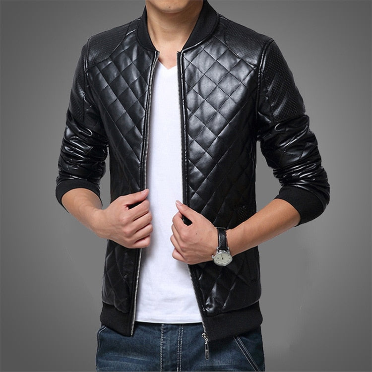 Slim Spring Leather Jackets Stand Collar