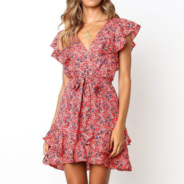 Floral Printed Sexy V neck Short Mini Party  A-line Dress