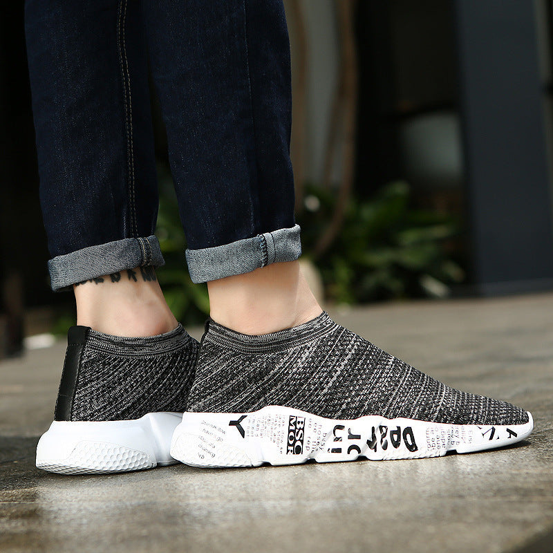 Breathable Mesh Shoes Men Fashion Black Loafers Boost