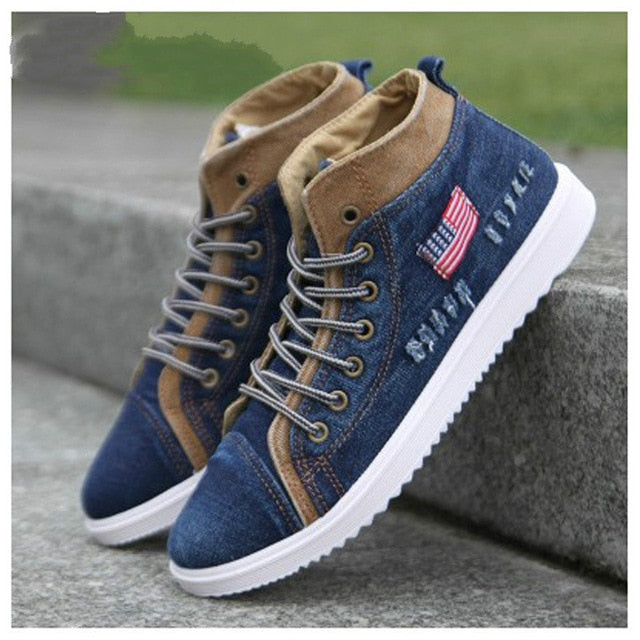 Fashion Denim Style Canvas Shoes Classic Retro Breathable Mens Sneakers