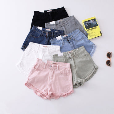 Vintage Fringe Denim Shorts Women Casual Pockets