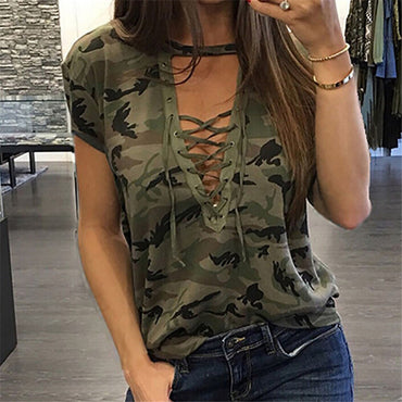 Fashion Women Loose T-shirt Short Sleeve Camo Sexy T Shirt